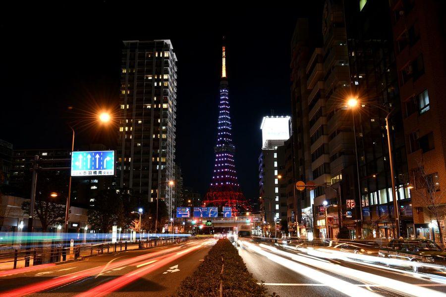 東京タワー Illuminated Night Light Trail Architecture Transportation Speed Motion