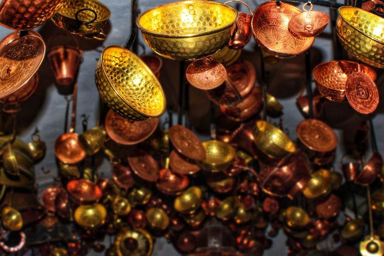Full frame shot of illuminated lanterns hanging in market