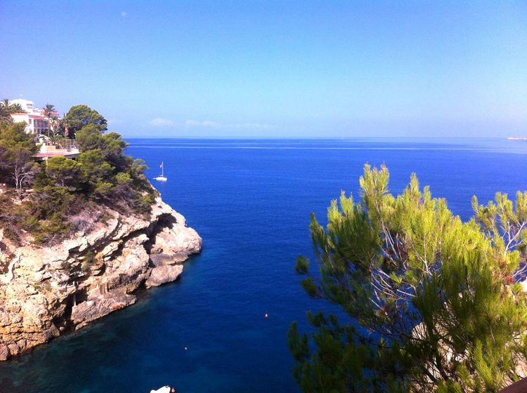 Sea Blue Water Tranquil Scene Horizon Over Water Tree Beauty In Nature Scenics Clear Sky Cliff Nature Seascape Physical Geography Non-urban Scene Calm Tranquility Rock Formation Tourism Nature Coastline Outdoors Travel Travel Destinations EyeEm Nature Lover House On The Hill