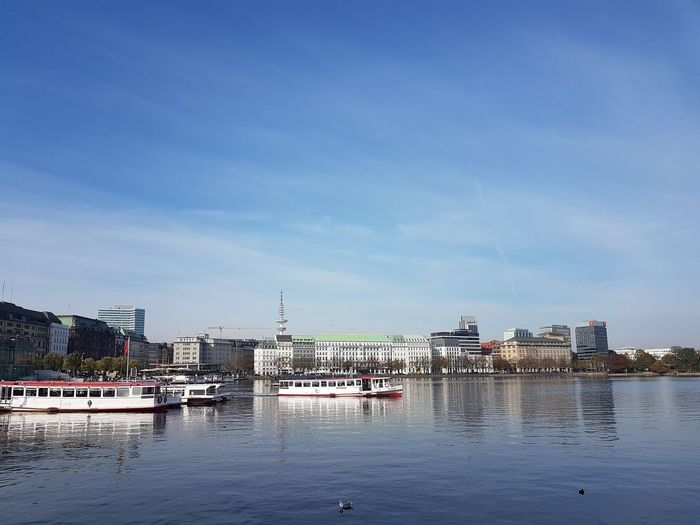 Water Building Exterior Built Structure Architecture Nautical Vessel Sky City Transportation Waterfront Mode Of Transportation Nature Building Day No People Cloud - Sky River Outdoors Travel Cityscape Passenger Craft Cruise Ship Yacht Marina Hamburg Binnenalster