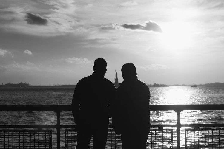 New York New York City Statue Of Liberty Black Bonding Cloud - Sky Couple - Relationship Horizon Over Water Lifestyles Looking At View Love Men Nature Outdoors Positive Emotion Railing Real People Rear View Sea Silhouette Sky Standing Togetherness Two People Water First Eyeem Photo