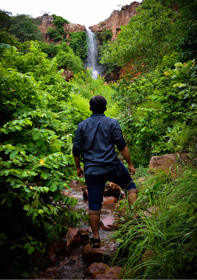 Full Length Water Rear View Walking Standing Plant Hiker Hiking Pole Rocky Mountains Hiking Waterfall Woods Countryside Trail Falling Water Flowing Flowing Water Mountain Climbing Explorer Adventure Stream Growing Backpack Pursuit - Concept Pathway Lush Foliage