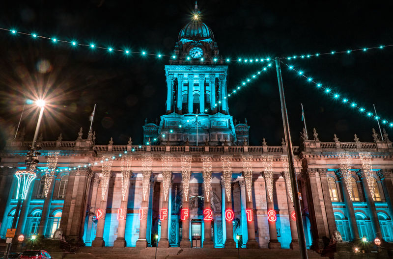 City Centre Architecture Built Structure Building Exterior Night Travel Destinations Illuminated Travel Tourism City Building Architectural Column Low Angle View Lighting Equipment No People Glowing History Government The Past Façade Leeds Uk United Kingdom Lights Long Exposure Christmas