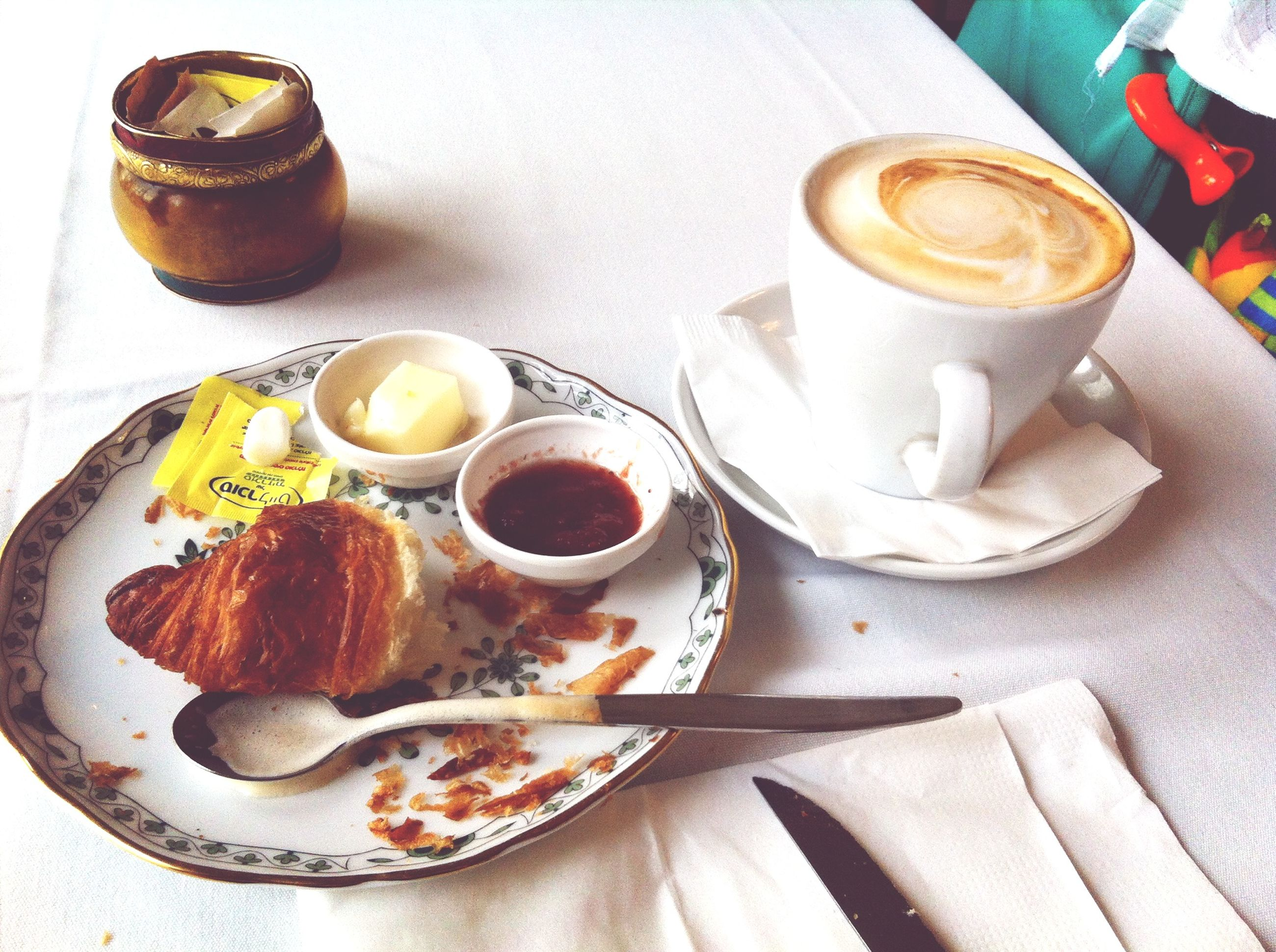 food and drink, freshness, food, drink, indoors, table, refreshment, plate, still life, ready-to-eat, coffee cup, coffee - drink, breakfast, healthy eating, high angle view, saucer, spoon, serving size, indulgence, bread