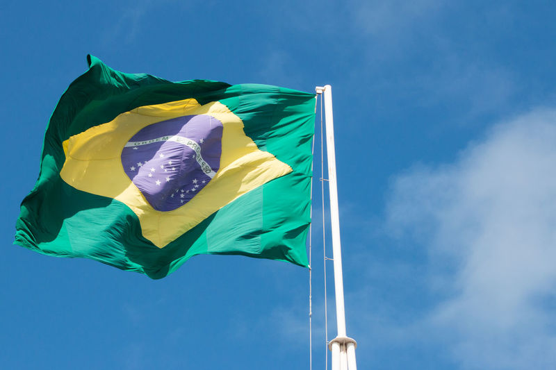 Brazil's flag Brazil Blue Cloud - Sky Day Emotion Environment Flag Green Color Low Angle View National Icon Nature No People Outdoors Patriotism Pole Pride Sky Waving Wind Yellow