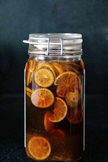 Close-up of fruity drink in jar