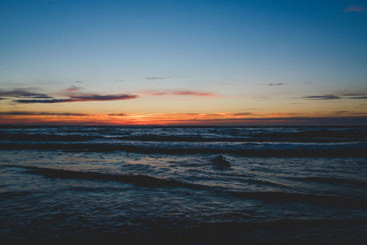Ocean sunsets are the best Sunset Sea Horizon Over Water Scenics Beach Beauty In Nature Nature Sky Outdoors Blue Travel Destinations No People Tranquil Scene Landscape Water Wave Low Tide Clear Sky