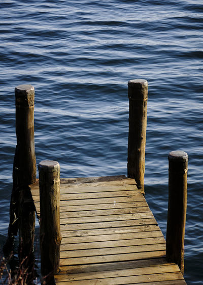 Wooden jetty on pier by lake
