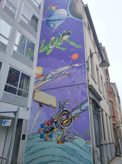 Yoko Tsuno wall art Yokotsuno Brussels EyeEmNewHere Art Art Is Everywhere Wallart Architecture City Building Exterior Multi Colored Outdoors Built Structure No People Cityscape Modern