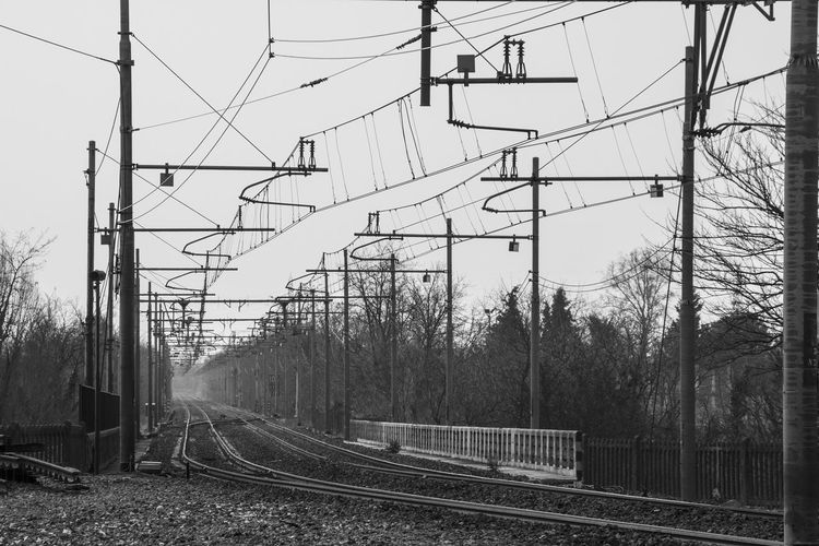 Biancoenero Binari Blackandwhite Power Cable Power Line  Railroad Track Railway Track Treno Stazione Parona