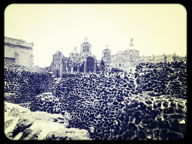 View to Mexico City's Cathedral from T Museo Del Templo Mayor Monochrome