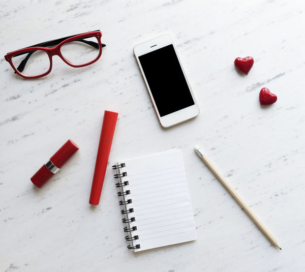 Woman accessories on white marble, top view Accessories Close-up Essentials Eyeglasses  Fashion Girl Instagram Lipstick Marble Mobile Phone Morning Light Notebook Objects Smartphone Photography Still Life Table Technology Top Vacations White Background Woman First Eyeem Photo