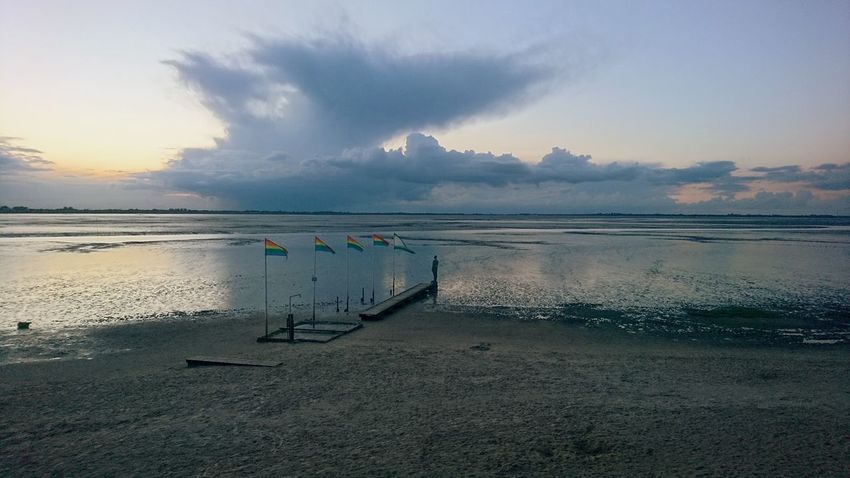 Dangast. Dangast Germany Friesland Jadebusen Beach Strand Kurhaus Ocean Sea Tide Clouds Nature Clouds And Sky Cloudy Pier Tourism Solitude Beauty Beauty In Nature