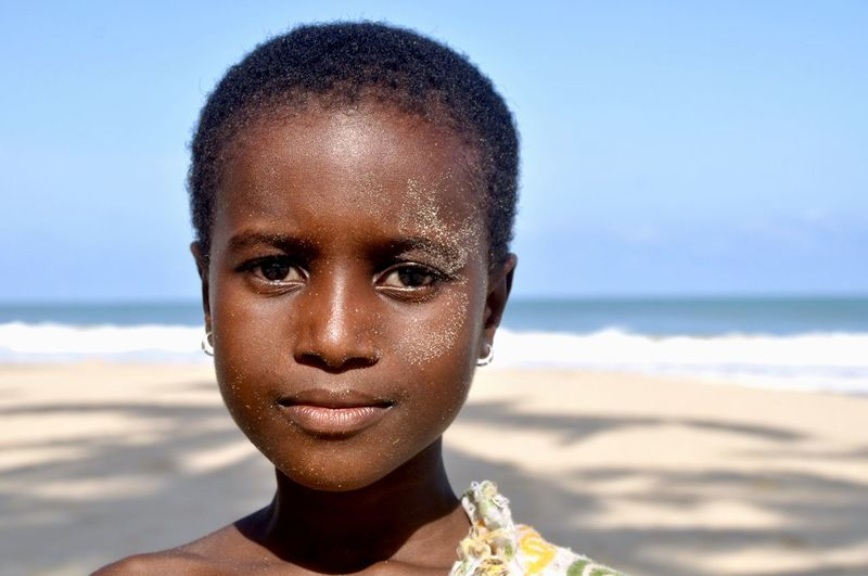 Portrait of boy at beach