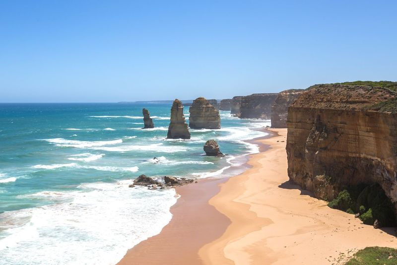Great ocean road Australia Melbourne Landscape Sea Water Beach Sky Land Clear Sky Nature Horizon Beauty In Nature Sunlight Day Blue Sand Wave