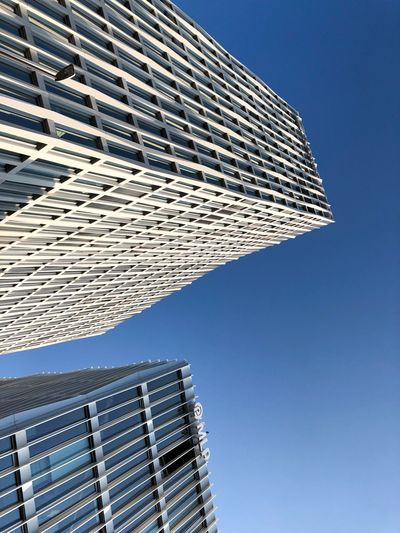 Berlin Photography Berliner Ansichten Berlin Building Exterior Built Structure Architecture Sky Low Angle View Building Tall - High Office Building Exterior Skyscraper Clear Sky Nature No People City Modern Office Tower Blue Day Pattern