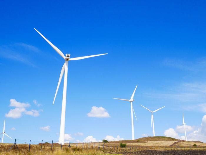 Windmills on field against blue sky