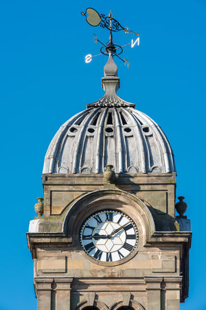 The tower of Derby Guildhall Derby Architecture Blue Building Exterior Built Structure Clear Sky Clock Clock Tower Day Dome Low Angle View No People Outdoors Sky Spirituality Time Weather Vane