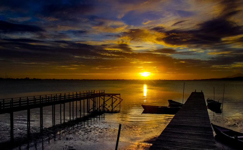 Saquarema Beauty In Nature Cloud - Sky Day Horizon Over Water Jetty Nature No People Orange Color Outdoors Pier Por-do-sol Scenics Sea Silhouette Sky Sun Sunset Tranquil Scene Tranquility Water Wood - Material