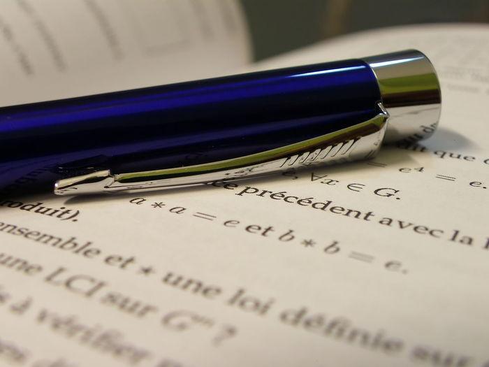 Blue pen on