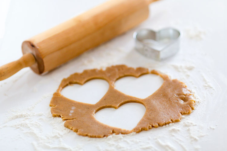 Heart shaped biscuit dough Absence Biscuit Cutter Brown Close-up Composition Dough Flour Food Food And Drink Healthy Lifestyle Heart Shaped  Ideas Indoors  Love No People Preparation  Selective Focus Still Life Sweet Food Temptation