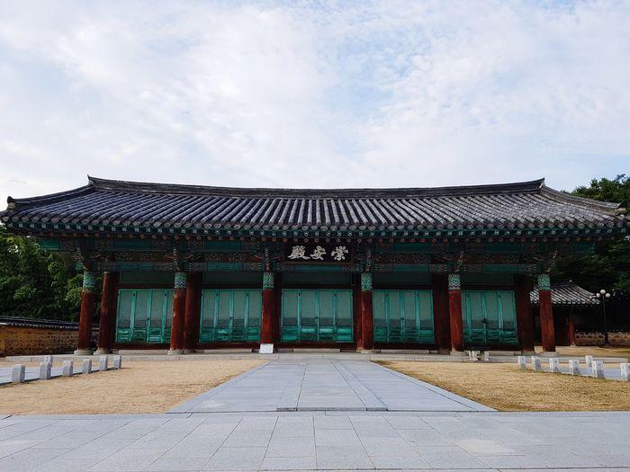 Temple building against cloudy sky