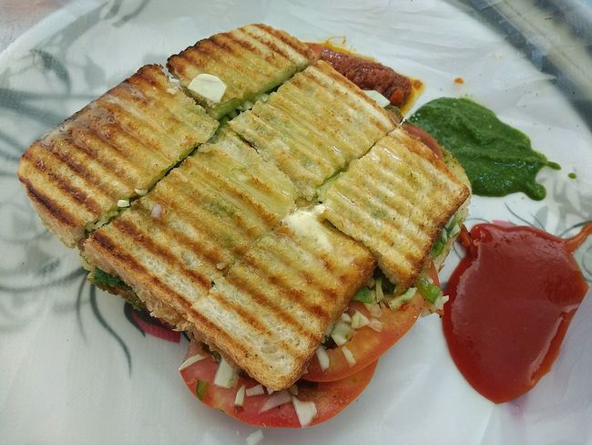 Food And Drink Food Freshness High Angle View Ready-to-eat Day Grilled Ketchup Sandwich Vegetable Vegetarian Food Healthy Eating