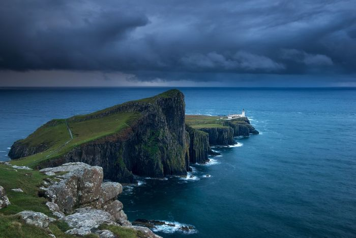 Sea Horizon Over Water Nature Water Sky Scenics Cloud - Sky Beauty In Nature Tranquility Tranquil Scene No People Rock - Object Outdoors Cliff Day scotland, isleofskye, isle of skye, sea, lighthouse Scotland Neistpoint Neist Point isle of skye Isle Of Skye