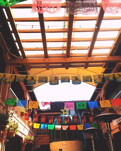 Old Town restaurant scene Cinco De Mayo Banner Mexico San Diego Fiesta Day Of The Dead Hanging Multi Colored Lantern Architecture No People Indoors