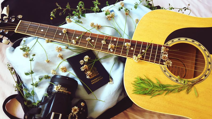 EyeEm Selects Close-up Passport Guitar Camera Dlsr Travel Traveling Traveler Suitcase Luggage Summer Spring Spring Flowers Flowers Square Packing My Suitcase Vacation Chords Bloom Music Musical Instrument View From Above Sommergefühle Let's Go. Together.