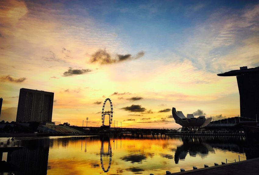 Singapore Sunset Sky Cloud - Sky Water Silhouette Architecture Built Structure Vertebrate Animal Outdoors Group Of Animals Beauty In Nature No People Scenics - Nature Reflection Building Exterior Nature Orange Color Animal Themes Bird
