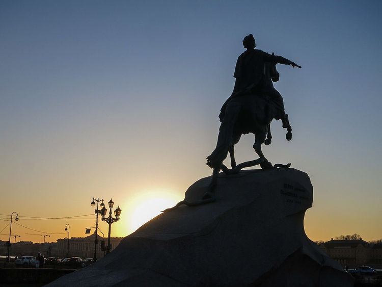 The most Famous Statue of Peter the Great, lovely in Stunning Sunset ☺.