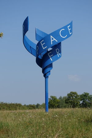 Peace-Spiral Art Object For Peace Blue Borderline Broadcasting Clear Sky Day Frieden, Peace, Mir Frontier Memorial Mid-air Nature No People Outdoors Point Alpha Sky Tourist Attractions