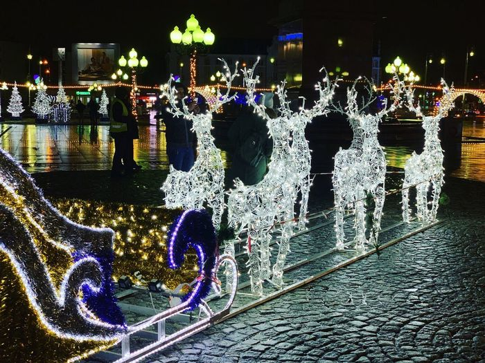 Night Illuminated City Architecture Water Building Exterior Decoration Multi Colored Glowing No People Outdoors Lighting Equipment Built Structure Street Transportation Nature Celebration Communication Text