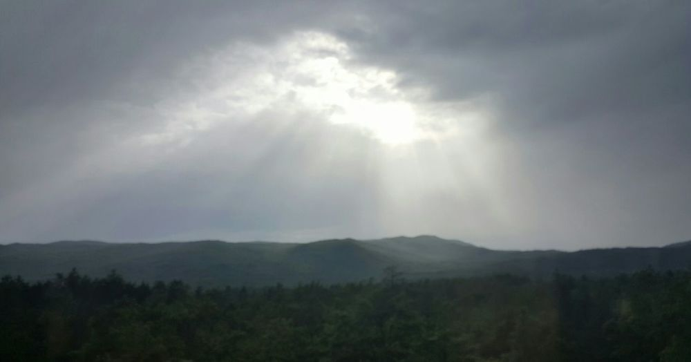 Sun breaking through clouds, Northern Croatia. Croatia Sunbeam Greyskies Holiday Forest Afternoon Clouds Part