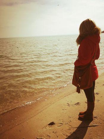 Water Sea Beach Full Length Women Standing Sand Sunset Females Rear View