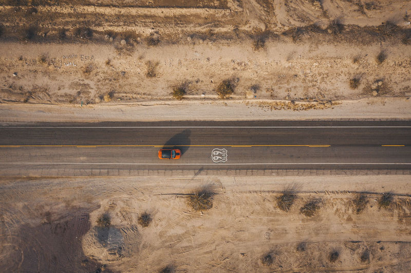 High angle view of road on desert