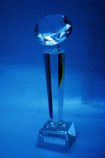 diamond shaped trophy Accomplishments Achievement Acryllic Background Blue Champions Diamond Still Life Trophy Winner This Is Strength