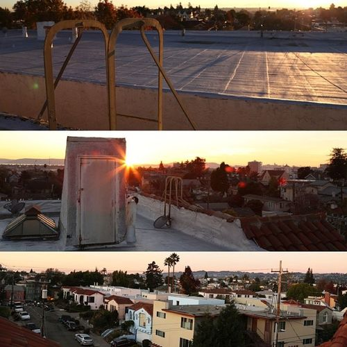 Sunset on the roof Upthatsketchyladder Bayarea Oakland Eastlake myhood nofilter niceweather