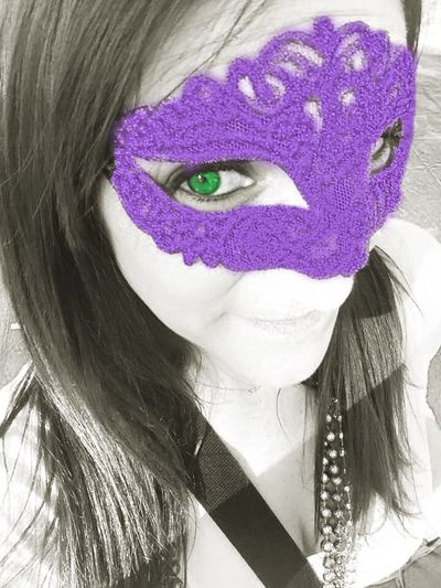 That's Me Mask Mardi Gras Green Eyes Purple Mask Blacckandwhite Color Splash Girl Young Adult Young Women Portrait Of A Woman