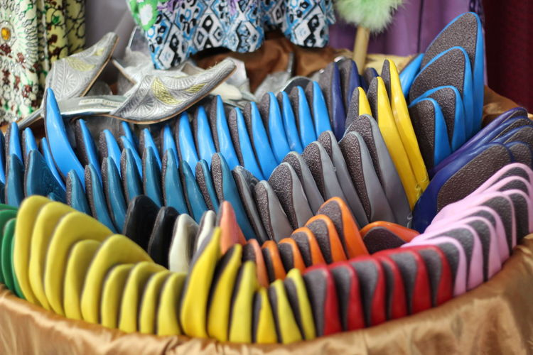 High angle view of footwear for sale at market stall