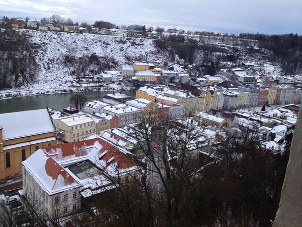 City High Angle View Human Settlement Outdoors Residential District Residential Structure River Wintertime