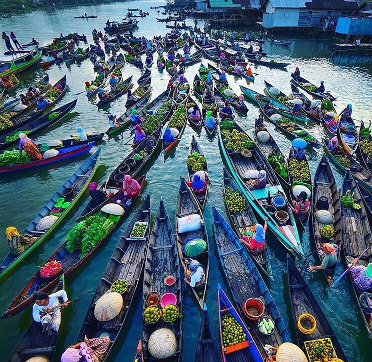 nautical vessel, high angle view, water, transportation, moored, day, river, outdoors, mode of transport, large group of objects, multi colored, harbor, gondola - traditional boat, no people