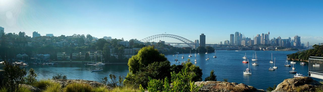 Panorama overlooking Sydney harbor including harbor bridge amd opera house. Panorama Harbor Sydney Sydneylocal Sydney Opera House Sydney Harbour Bridge Boats