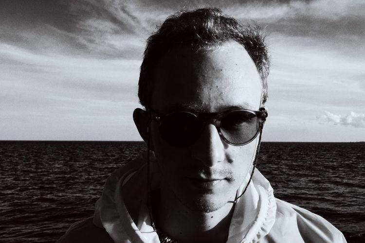 Portrait People Blackandwhite Sunglasses Denmark Bagø Baltic Sea Man Young Adult Boy Shaddow Schattenspiel  Waves Ocean Black And White