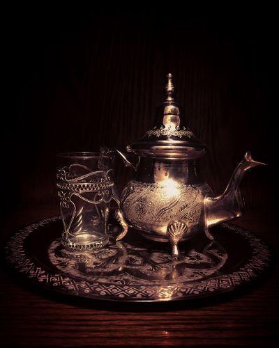 Tea Lover Moroccan Tea Moroccan Jarra Marroqui Tea Close-up Teapot Studio Shot No People Black Background Indoors  Table