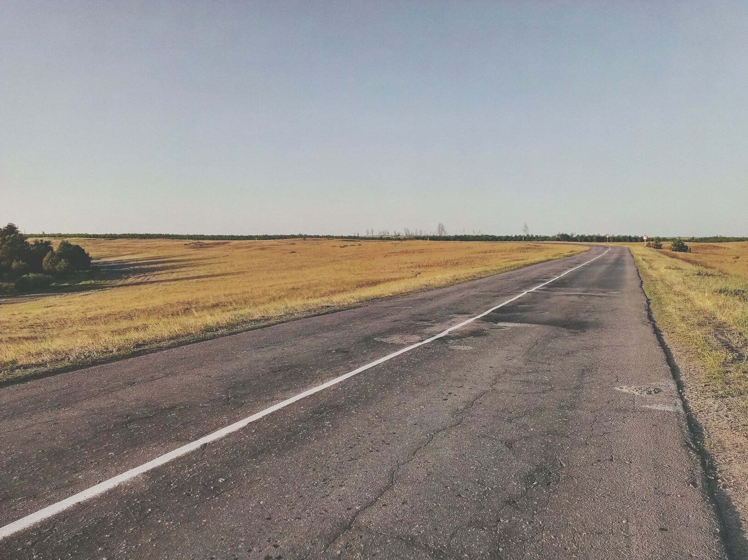 the way forward, transportation, road, clear sky, diminishing perspective, vanishing point, copy space, road marking, landscape, country road, tranquil scene, tranquility, empty, long, field, empty road, sky, asphalt, nature, horizon over land