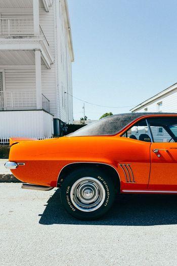Vintage car against clear sky