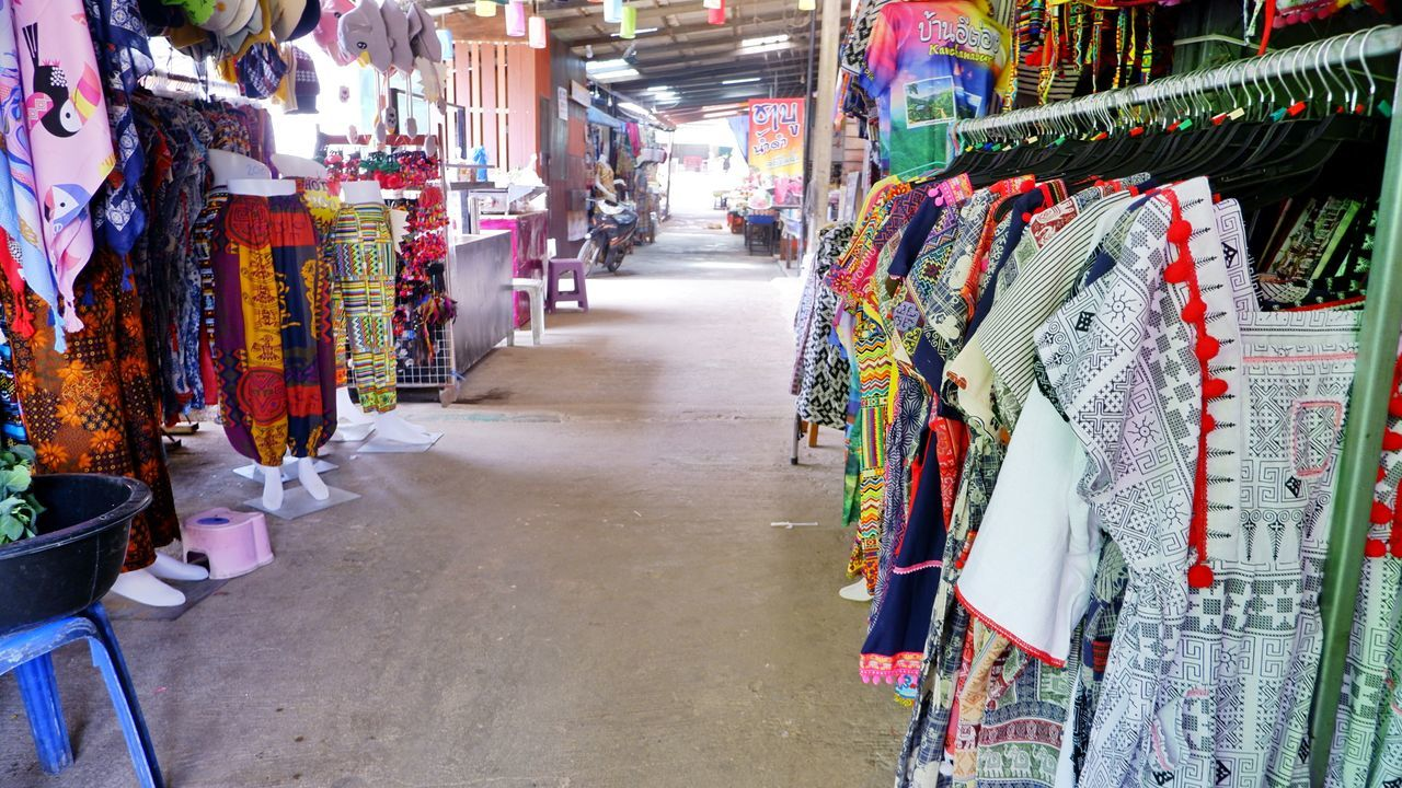 PANORAMIC VIEW OF MARKET STALL FOR SALE AT STORE