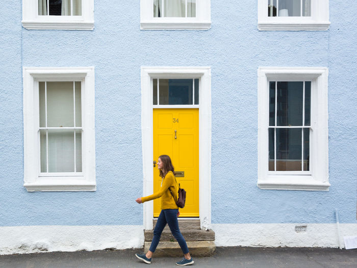 Lake District Pop Of Color Walking Around Yellow Flower Architecture Blue House Building Building Exterior Cockermouth Door Doorway England One Person Residential District Yellow